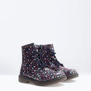 NWT Zara Floral Boots